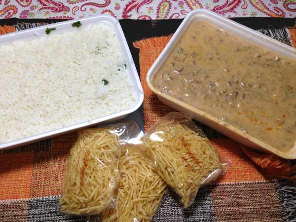Bistrôgonofe - Embalagens Tamanho Família com Arroz, Strogonoff de Carne e Batata Palha