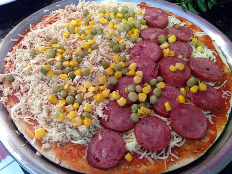 Pizza Fácil - Preparo: Milho e Ervilha